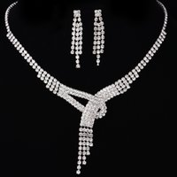 Wholesale Cheap Studs Free Shipping - 2017 Wedding Jewelry Accessories Rhinestones Bridal Neckless and Earring Sets Cheap Flower Party Jewelry Set Free Shipping In Stock