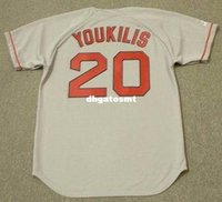 Custom Custom KEVIN YOUKILIS Boston Red Sox 2004 Majestic Throwback Away Maglia da baseball Retro Mens Jerseys