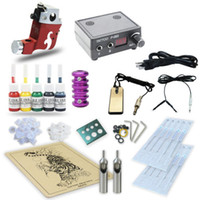 Wholesale Needles Rotary Gun - Complete Tattoo Kit Gun Rotary Machine Supply Power Foot Pedal 5 Color Inks 10 Needles TK-9