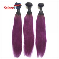 Wholesale European Straight Virgin Hair - Grade 8A Virgin Human Hair Weaves Straight European Human Hair Bundles Natural Black Purple Ombre Hair Wefts