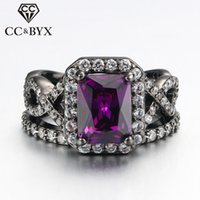 CC Midi Anelli Gioielli Moda Black Plated Gold Ring Set Cubic Zirconia Purple Stone Fidanzamento Party Gifts Cocktail Rings R480