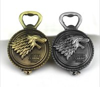 Wholesale Wine Bottle Keychain - Game of Thrones Bottle Opener Keychain Wine Beer Openers Stark Badge Retro Bronze Color Party Supplies