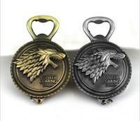 Wholesale Retro Supplies - Game of Thrones Bottle Opener Keychain Wine Beer Openers Stark Badge Retro Bronze Color Party Supplies