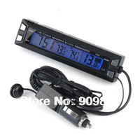 Wholesale Digital Thermometer Max - 12 24V Car In Out Thermometer 3in1 Digital Indoor Outdoor Car Voltage Monitor And Clock Thermometer Max  Min Temperature Meter
