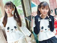 Wholesale Long Sleeves Panda Outwear - Spring Panda Pattern Hoodies Sweatshirts Lovely Girls Sailor Collar Lolita Long Sleeve Paw Outwear High Quality