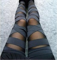 Wholesale Cut Out Black Leggings - Ripped Tights Cut-out Bandage Leggings Sexy Pants 2016 New Autumn Spring Woman Lady Leggings Perspective Trousers Slim Pencil Pants