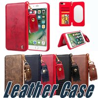 Wholesale Pu Pocket Mirror - For iPhone 8 7 Luxury Multifunction Wallet Leather Case with Mirror Card Slot For iPhone 7 6 6S Plus Sumsung S8 Plus