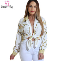Wholesale Long Neck Chains - 2017 Autumn Gold Chain Print Blouses for Women Long Sleeve Turn Down Collar Button up Female Shirt Sexy Casual Ladies Tops