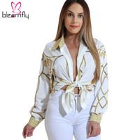 bayanlar gündelik gömlekler yaka toptan satış-Kadınlar için 2017 Sonbahar Altın Zincir Baskı Bluzlar Uzun Kollu Turn Down Yaka Düğme yukarı Kadın Gömlek Seksi Casual Bayanlar Tops