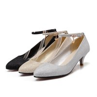 Wholesale Gold Shoes Mid Heel - Fashion Women's Ankle Buckle Strap Shoes Sexy Synthetic Leather Pointed Mid Heel Pumps S113 US Size 4 -10.5