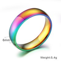 Wholesale Size Rings Women - 2016 High Quality and Fashion Accessories Men Women Rainbow Colorful Ring Titanium Steel Wedding Band Ring Width 6mm Size 6-12 Gift