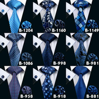 Wholesale High Quality Silk Tie - Deep Blue Ties For Men Fashion Neck Tie Set Brand Tie Hanky And Cufflinks Set Mens Tie High Quality Jason & Vogue