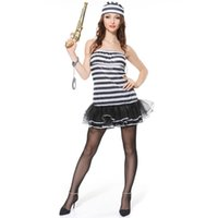 Wholesale Gangster Cosplay Costumes - Hot Sale Prisoner Cosplay Women Halloween Costume Sexy Prison Uniform Black and White Stripes Performance Clothing SW0322