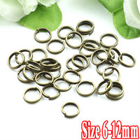 Wholesale Double Jump Rings Bronze - 500G PIECE Antique Bronze IRON 6-8-10-12mm Double-loop Opening Jump Ring Findings and Settings for Jewelry Making