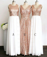 Wholesale Light Brown Maxi Bridesmaid Dresses - Gold Rose Sequined A-Line Bridesmaids Dresses Floor Length Cheap Sale Formal Women Maxi Bridesmaid Party Gowns 2017