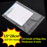 Wholesale Size 15 Clothing - 15*28cm Clear Opp Bags Self Adhesive Bags Resealable Cellophane BOPP Poly Bags Storage Bag Packaging Plastic Jewelry Bag Multi Sizes