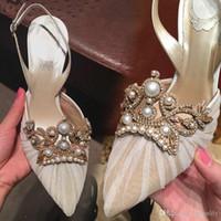 ingrosso pattini di cristallo neri di prom-Scarpe da sposa con cristalli Perla Comode scarpe da sposa in pizzo Scarpe da sera Party Prom bianco pizzo nero