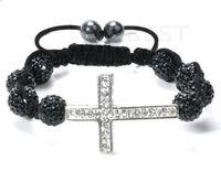 Wholesale Shamballa Beaded Bracelet Crosses - cheap! New!10mm black micro pave cz Disco disco Ball Beads Cross Bangles OMN Women Crystal Shamballa Bracelet jewelry wholesale HOT hotsale