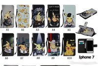 Pikachu Poke Wallet cuir Pour 7 IPhone 7 Iphone7 I7 7g 4.7 '' / Galaxy Note 7 Note7 PU Cartoon monstre mignon cas flip Cover Pouch + Strap
