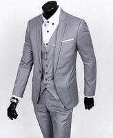 Wholesale Grey Men Slim Fit Suits - Custom Made Slim Fit Groom Tuxedos Light Grey Best man Suit Notch Lapel Groomsman Men Wedding Suits Bridegroom(Jacket+Pants+Vest)