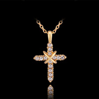 Wholesale Cross 24k Gold Necklace Chain - Christmas gift brand new 24k 18k yellow gold cross Pendant Necklaces jewelry GN730 hot sale fashion gemstone crystal necklace Free shipping
