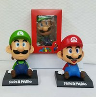 Wholesale Mario Bros Big Figure - Super Mario Bros Luigi Action Figures doll toys for Children Toys Movie Vinyl Movable head Cute Action Figure Collection Kid free shipping
