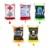 Wholesale Events Bags - Halloween Blood Bag Juice Energy Drink Bag Halloween event Party supplies cosplay Pouch Props Vampires Reusable Package Bags DHL free