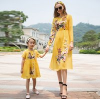 Wholesale Girl S Dresses Flower Fall - Mother and Daughter Clothing Fall Long Sleeve Flower Printed Dresses Chiffion Children Girls Skirt Kids Clothes