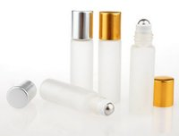 Wholesale Glass Essential Oil Containers - 100pcs 5ml Travel Frosting Glass Roll on Perfume Bottle For Essential Oils Empty Cosmetic Containers With Steel Beads Free Shipping
