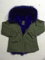 Wholesale Down Long Coat Fur - Mr & Mrs Furs Blue Raccoon Fur hood Lined with rabbit fur Ladies Green jacket women coats
