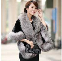 Wholesale Ladies Fur Coat Fox Collar - Wholesale-Fur coat Female Fur vest 2016 Women's Rabbit Fur outerwear Coat Fox Collar Outerwear Lady Winter Sleeveless Vest shawls cloak