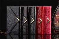 Wholesale Cell Phone Envelope Cases - Classical Luxury Crocodile Pattern Envelope Style PU Leather Cell Phone Case With Magenic Close 5 Colors For Iphone6 6S iPhone 6Plus