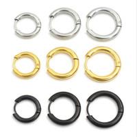 ingrosso marchio coreano dei monili d'argento-Oro Argento Nero 316L Brand New Stainless Steel Round Hoop Orecchini coreano Carino piccolo cerchio orecchio gioielli