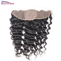 Wholesale Luxury Malaysian Deep Curly Hair - Luxury Malaysian Deep Curly Silk Base Full Lace Frontal Closure Pieces 13x4 Ear To Ear Silk Base Frontals Deep Wave Fast Delivery