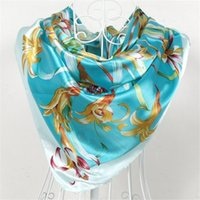 Wholesale Printed Scarves China Wholesale - China Style Women Silk Polyster Scarf Shawls Printed Sky Blue Satin Big Square Scarves Fashion Handkerchief Floral Pattern Scarf