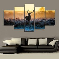 Wholesale Oil Painting African Sunset - 5 Piece HD Printed African sunset deer Group Painting Canvas Print room decor print poster picture canvas home decoration