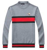 Wholesale Stripe Long Sweater Slim - 2018 new high quality pullover men Little bee Red green stripe sweaters Brand sweater Slim Jumpers pullover jerseys men O-Neck size M-XXL
