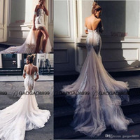 Wholesale long skirts couture - Pallas Couture Mermaid Split Wedding Dresses 2016 Champagne Church Train Off-shoulder Elegant Country Garden Berta Wedding Gowns