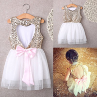 Wholesale Wholesale Mini Sequin Bows - Xmas 3-10Y Children Baby Girls Dress Clothing Sequins Party Gown Mini Ball Formal Love Backless Princess Bow Backless Gown Dress 20pc USPS