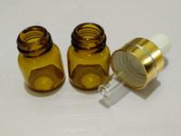 ingrosso tappo d'oro della bottiglia di vetro del profumo-Flacone da 100 ml in vetro ambrato da 1ml con tappo dorato, BOTTIGLIA DI OLIO ESSENZIALE, flaconcini di profumo piccoli, flacone di campionamento