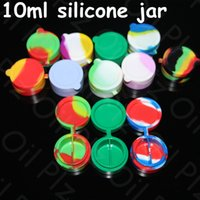 Wholesale Wax Cans Wholesale - Nonstick Wax Containers 10ml silicone box big wax can Silicon container Colorful Non-stick wax jars dab storage jar oil silicone dab rigs