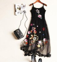 Wholesale Silk Bohemian Black Dress - The new Europe and the United States women's clothing in the summer of 2016 Heavy net yarn embroidered silk condole belt dress