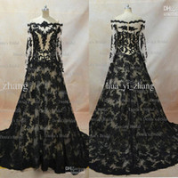 Wholesale real picture zuhair murad - Real Image 2017 Lace Evening Dresses Inspired By Zuhair Murad A Line Transparent Neckline Long Sleeves Black over Nude Evening Gowns