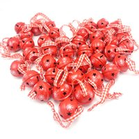 Wholesale Christmas Tree Snowflakes Decorations - Christmas Decoration 40 Pcs Red Metal Snowflake Jingle Bell Christmas Ornament for Home 30mm Party Decoration Tree Pendant