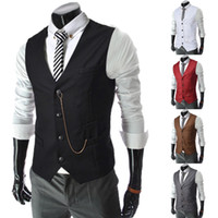Wholesale Mens Vests Sale - Hot 2017 Sale Mens V-Neck Slim Fit zipper Vests Suit Casual Formal Tuxedo Dress Waistcoat Style Outerwear & Coats