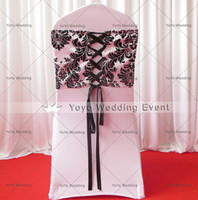 Wholesale Damask Sashes - 100pcs Black And White Flocking Taffeta Chair Cover Sash Also Call Elegance Damask Corset Chair Sash,Double Side Satin Ribbon