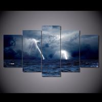 Wholesale Ocean Waves Landscape Paintings - 5 Pcs Set No Framed canvas clouds waves sea storm lightning ocean Painting Canvas Print room decor print poster picture canvas black art