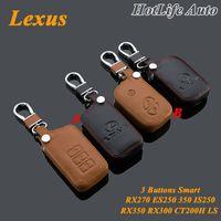 lexus leather key großhandel-Für Lexus IS250 RX270 RX350 RX300 CT200H ES250 ES350 RX NX GS Autoschlüsselanhänger aus echtem Leder 3 Tasten Smart Car Key Case Cover