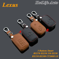 lexus gs venda por atacado-Para Lexus IS250 RX270 RX350 RX300 CT200h ES250 ES350 RX NX GS Car Keychain de couro genuíno 3 Botões Smart Car Key Case Capa