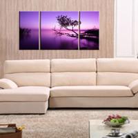 extracto de aceite púrpura al por mayor-3 Combinación de imágenes Púrpura claro Árbol negro Abstracto Impresión al óleo Pintura moderna Decoración de moda en la sala de estar sin marco